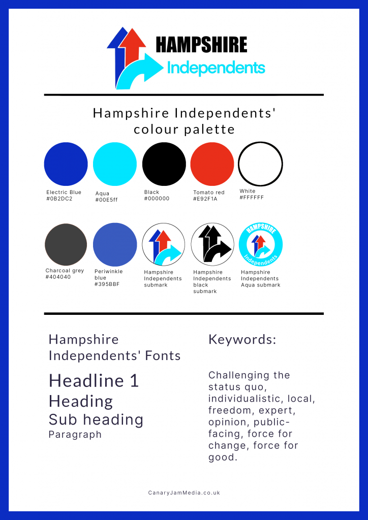 Brand identity design for the Hampshire Independents.