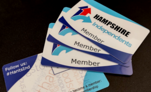 Brand Design for the Hampshire Independents: their new membership cards as designed by us