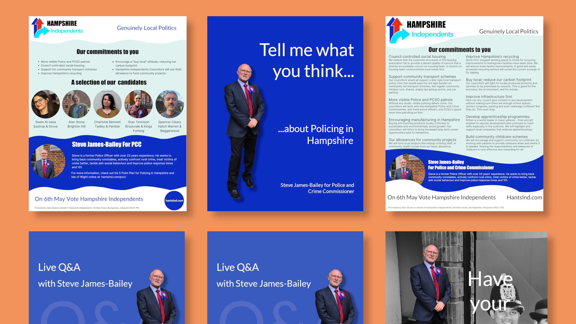 Creative Portfolio: Hampshire Independents - Policing in Hampshire Campaign with Steve James-Bailey